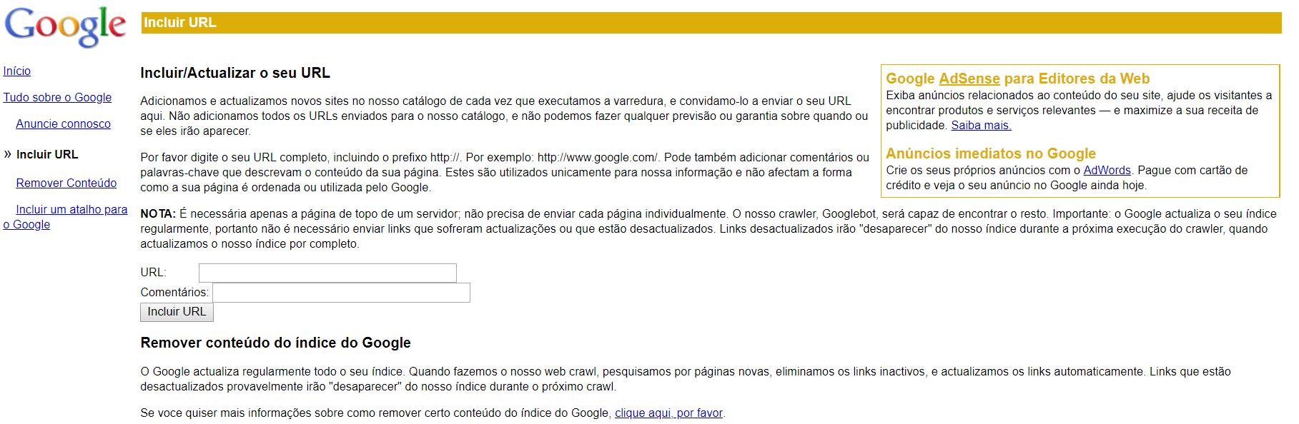 forçar google crawl site adicionar url